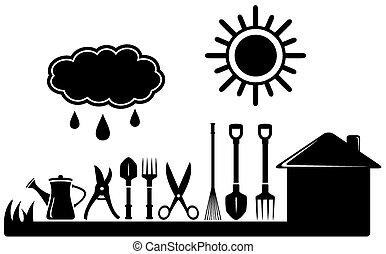 fazenda, jardinagem, jogo, ferramentas