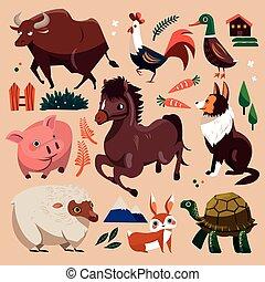 fazenda, jogo, animais