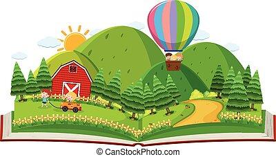 fazenda, livro, crianças