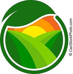fazenda, logotipo, desenho, verde, ícone
