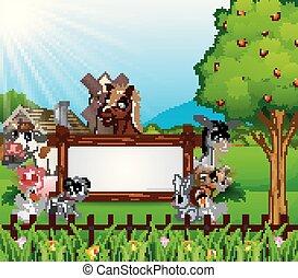 fazenda, madeira, animais, sinal branco