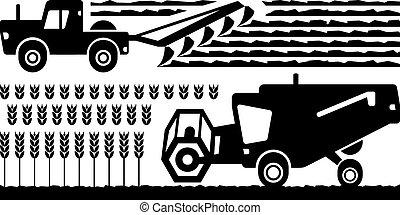 fazenda, maquinaria agrícola