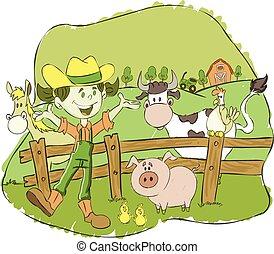fazenda, menina, caricatura, agricultor