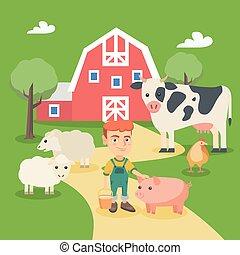 fazenda, menino, pequeno, caucasiano, animals.