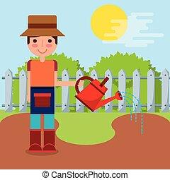 fazenda, menino, trabalho, jardineiro