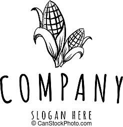fazenda, milho, vetorial, pretas, logotipo, desenho, agricultura