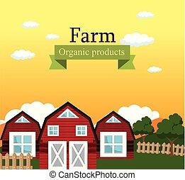 fazenda, orgânica, produtos, cena, etiqueta