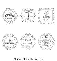 fazenda, ornament., produtos, emblemas