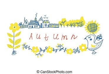 fazenda, outono, quadro, flores, desenho