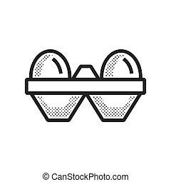 fazenda, ovo, desenho, pontilhado, ícone