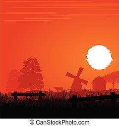 fazenda, pôr do sol