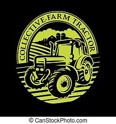 fazenda, padrão, campo, vetorial, fundo, trator