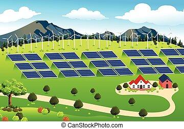 fazenda, painéis, turbinas, vento, solar