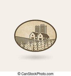 fazenda, paisagem., campo, oval, etiqueta