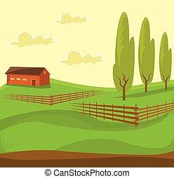 fazenda, paisagem., verde