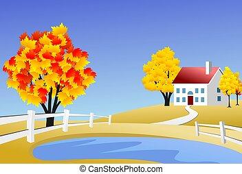fazenda, panorâmico, paisagem