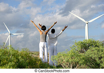 fazenda, par, ioga, vento