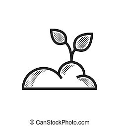 fazenda, planta, desenho, pontilhado, ícone