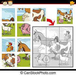 fazenda, quebra-cabeça, jigsaw, animais, caricatura