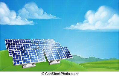 fazenda, renovável, poder, energia, solar