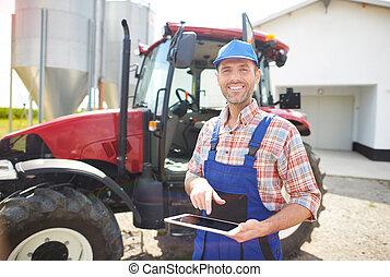 fazenda, seu, modernos, mecanizado, agricultor
