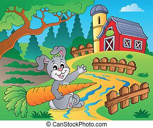 fazenda, tema, 2, celeiro vermelho
