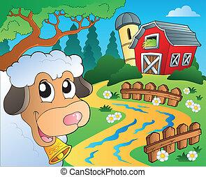 fazenda, tema, 5, celeiro vermelho