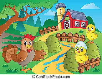 fazenda, tema, galinhas, galinha