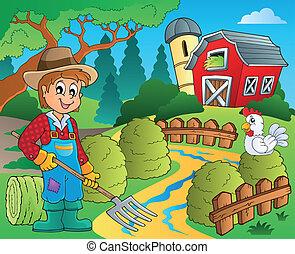 fazenda, tema, vermelho, 7, celeiro