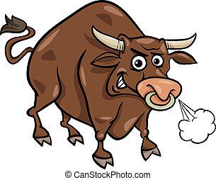 fazenda, touro, caricatura, ilustração, animal