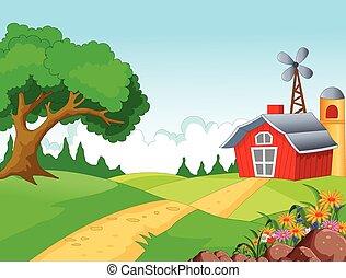 fazenda, tu, desenho, fundo