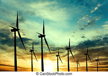 fazenda, turbinas, pôr do sol, vento
