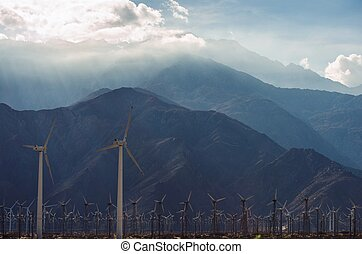 fazenda, turbinas, vento