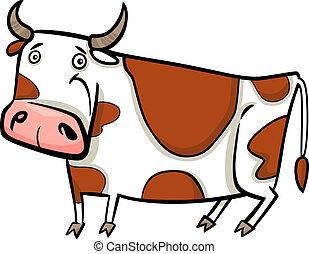 fazenda, vaca, caricatura, ilustração