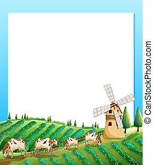 fazenda, vacas, vazio, modelo, fundo