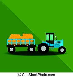 fazenda, vagões, trator