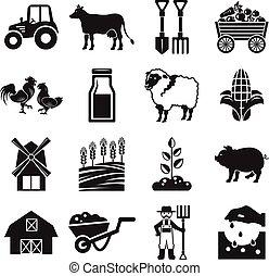 fazenda, vetorial, estoque, pictograma