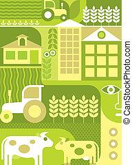 fazenda, vetorial, -, ilustração