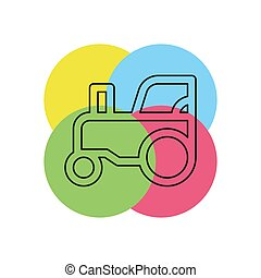 fazenda, vetorial, ilustração, trator, veículo