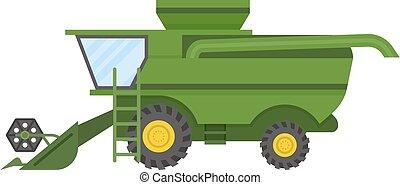 fazenda, vetorial, trator, veículo