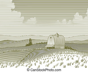 fazenda, woodcut, celeiro