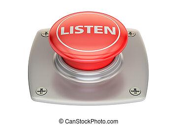 fazendo, 3d, escutar, botão vermelho