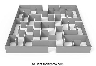 fazendo, 3d, labirinto