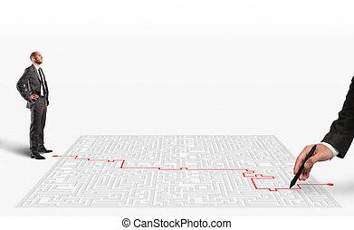 fazendo, 3d, solução, labirinto