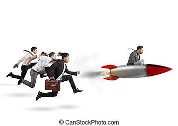 fazendo, alcance, superar, sucesso, 3d