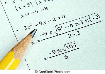 fazendo, algum, escola primária, matemática, com, um, lápis