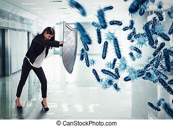 fazendo, ataque, bactérias, 3d