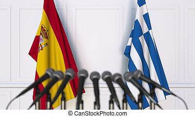 fazendo, bandeiras, grécia, internacional, conference., reunião, ou, espanha, 3d