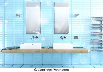 fazendo, banheiro, brilhante, 3d