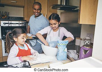 fazendo biscoitos, com, pai